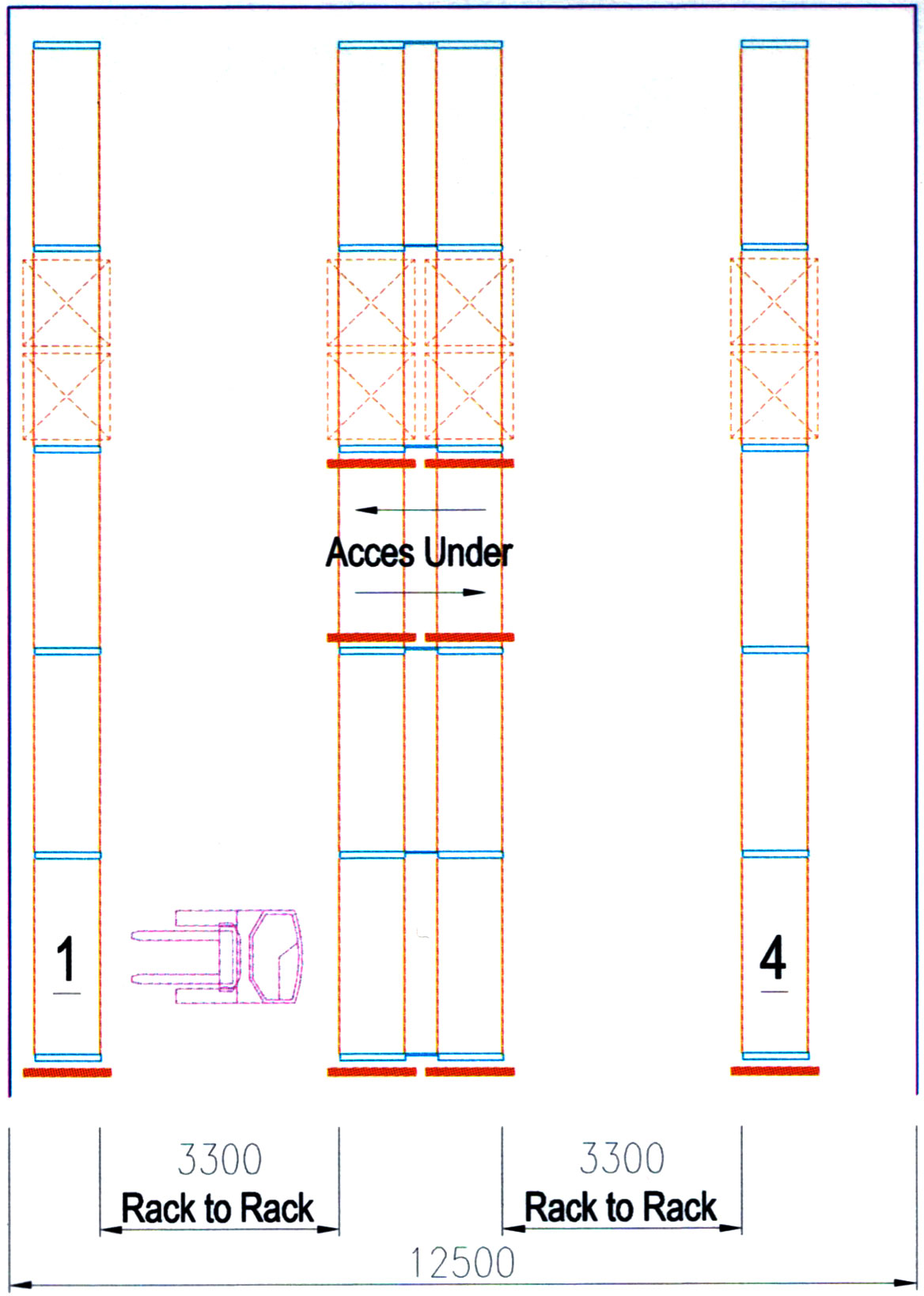 Aisle width for reach truck